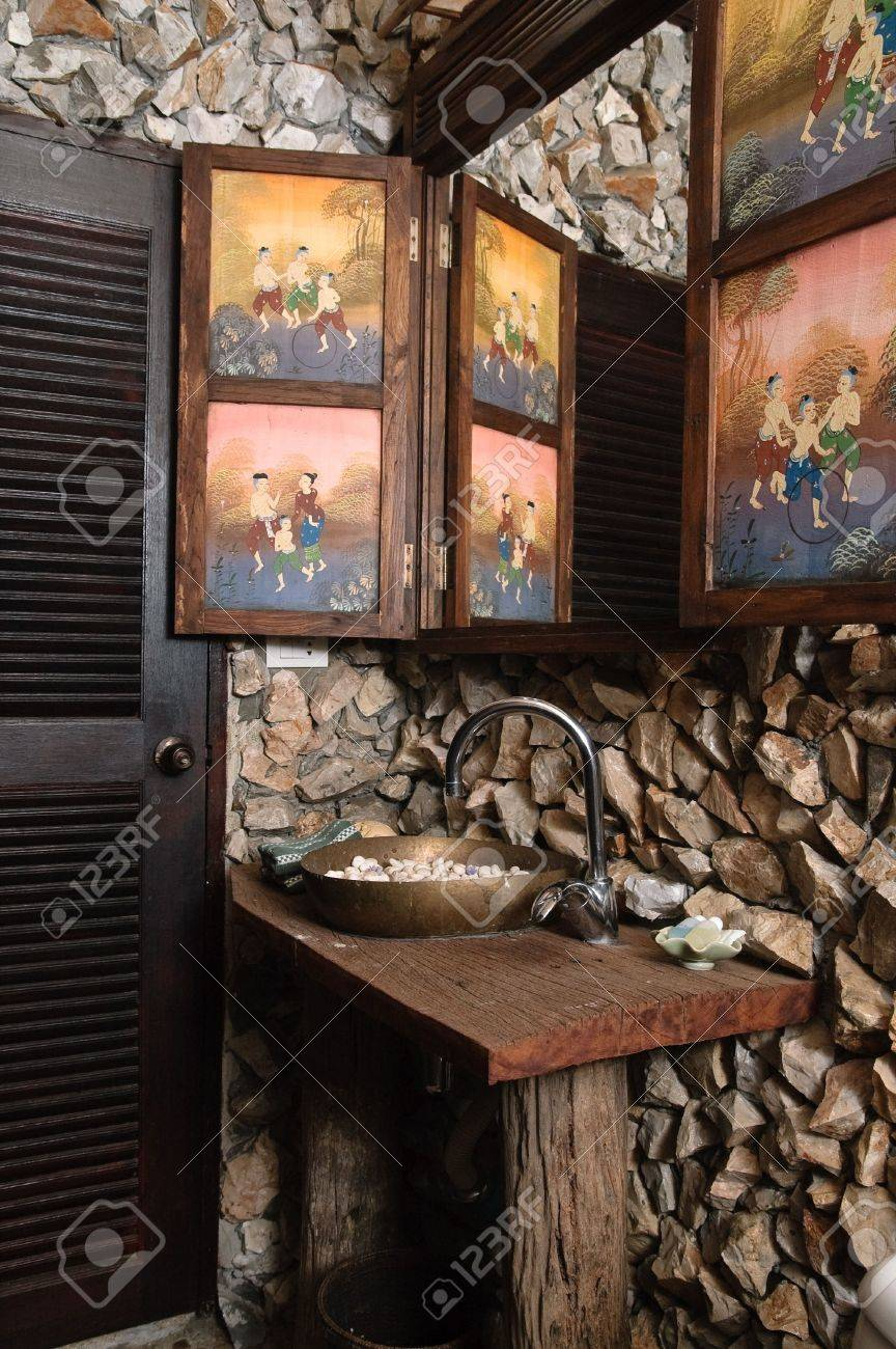 Thai Style Bathroom With Stone Walls Stock Photo Picture And