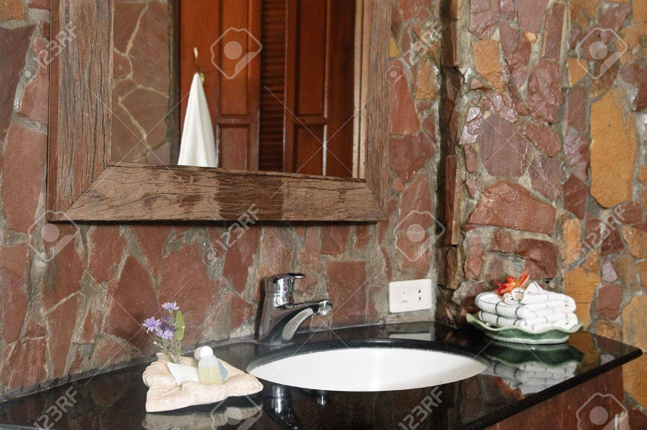 Thai Style Bathroom With Stone Walls Stock Photo, Picture And ...
