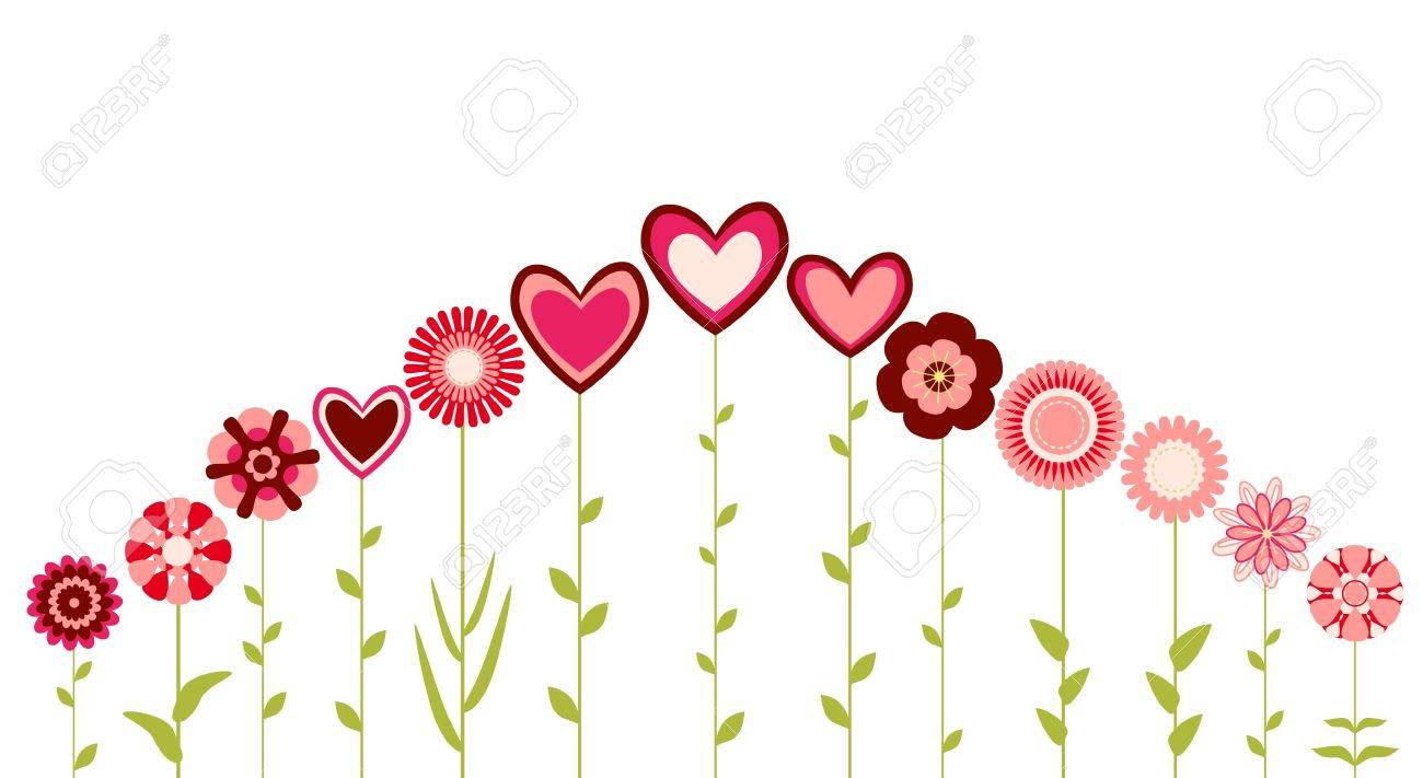 abstract flowers and hearts Stock Vector - 9654897