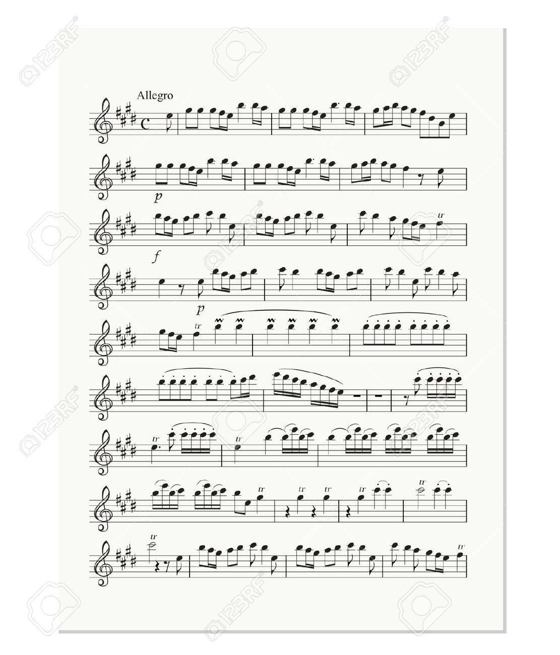 Hoja De Nota De Música Antigua Ilustraciones Vectoriales, Clip Art ...
