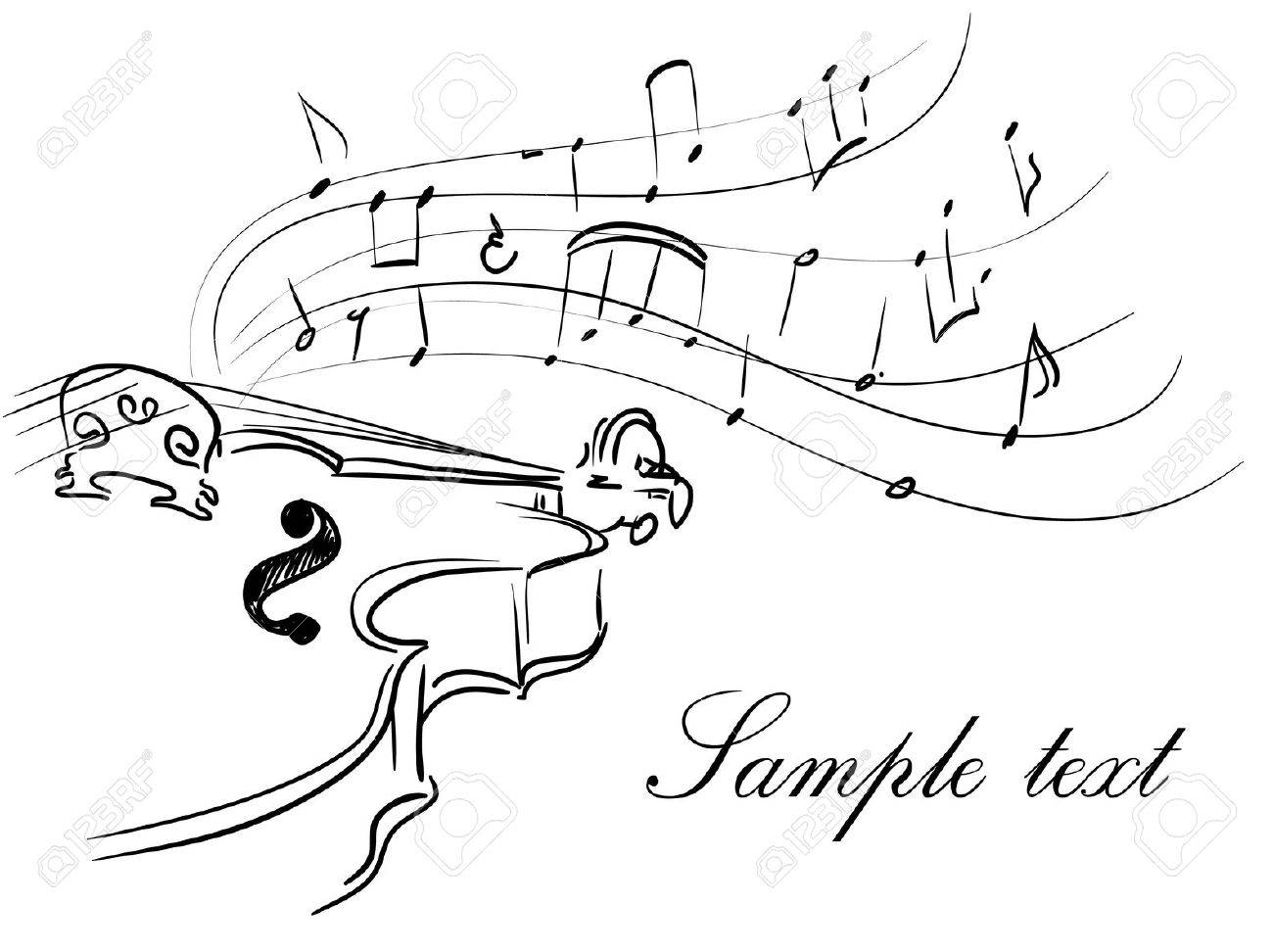 violin with notes Stock Vector - 9695734