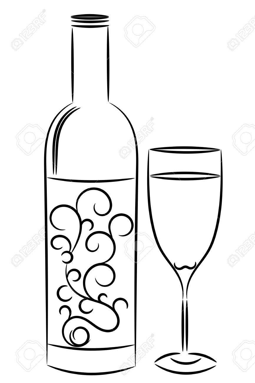 Afbeeldingsresultaat voor fles wijn tekening