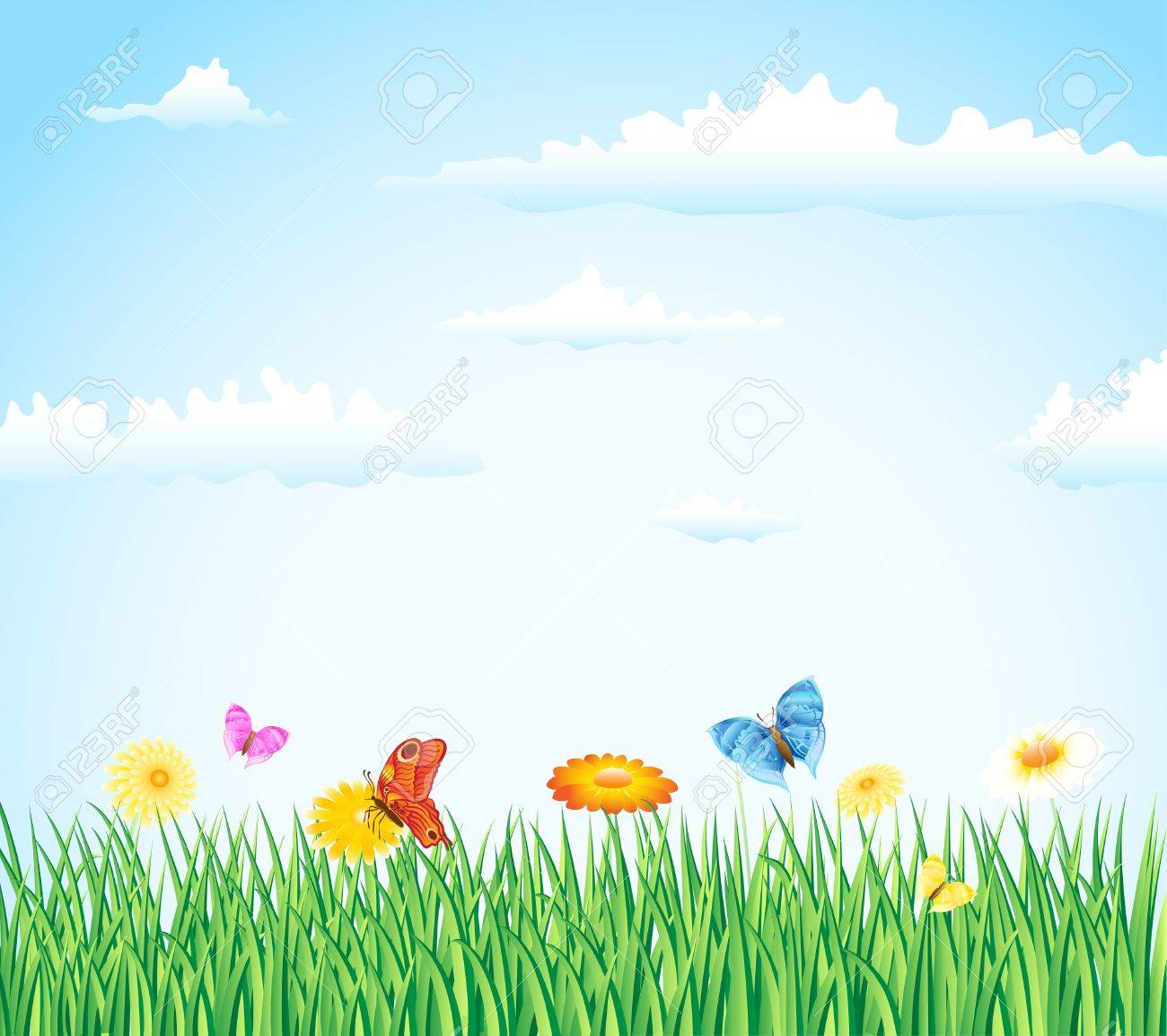 grass with flowers and buterflies Stock Vector - 9686903