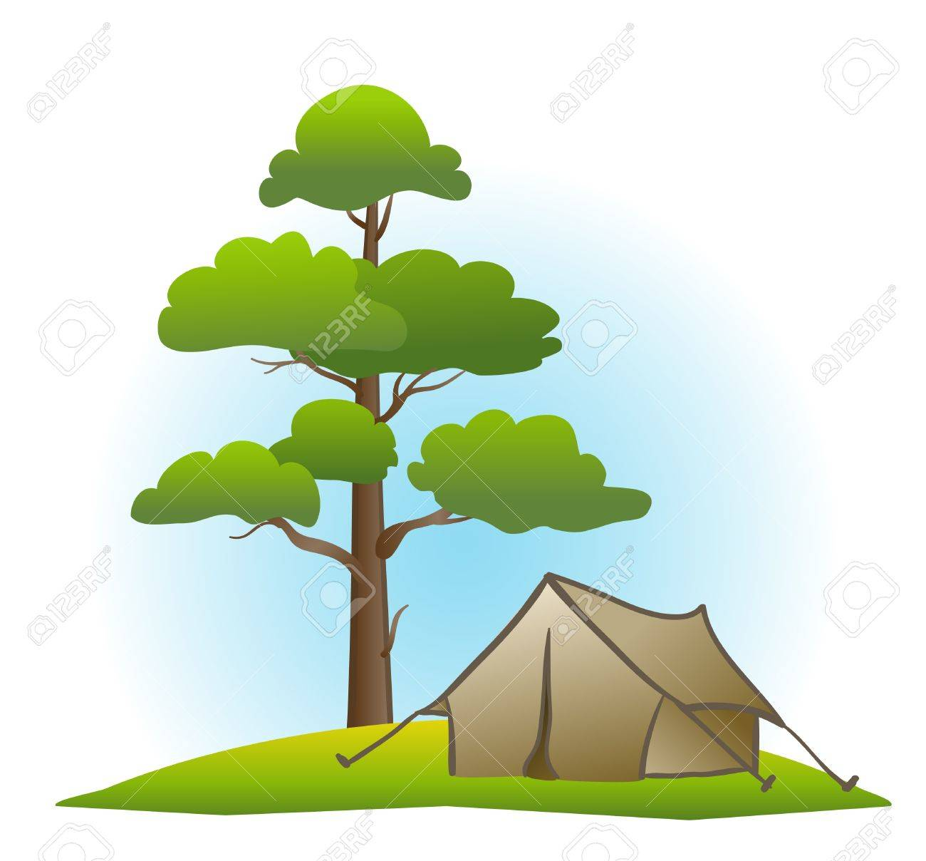 pine and tent on white Stock Vector - 9654917