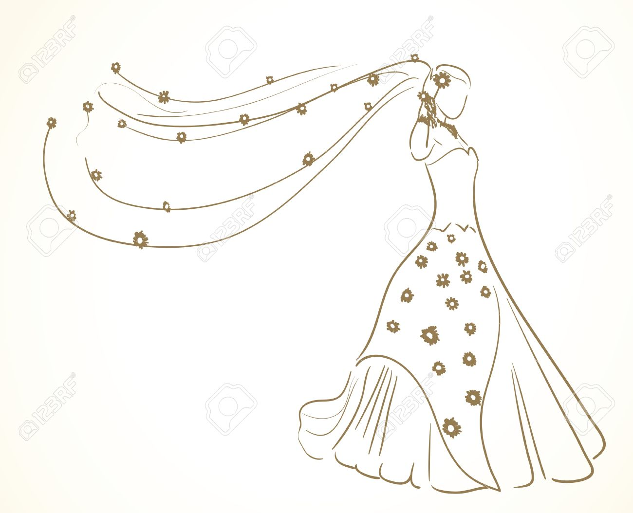 wedding dress with flowers in veil Stock Vector - 9654925