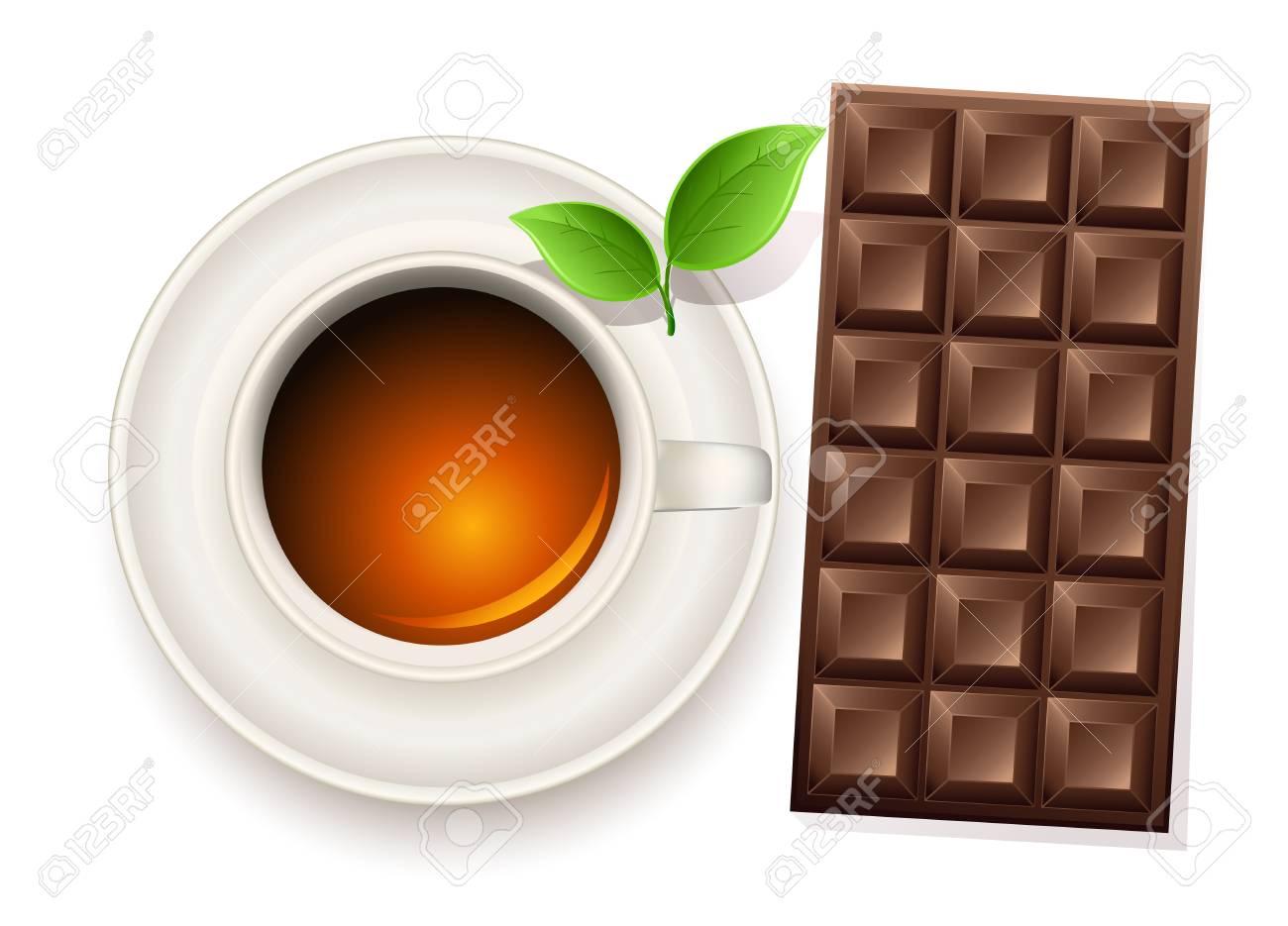 cup of tea an chocolate bar Stock Vector - 9998943