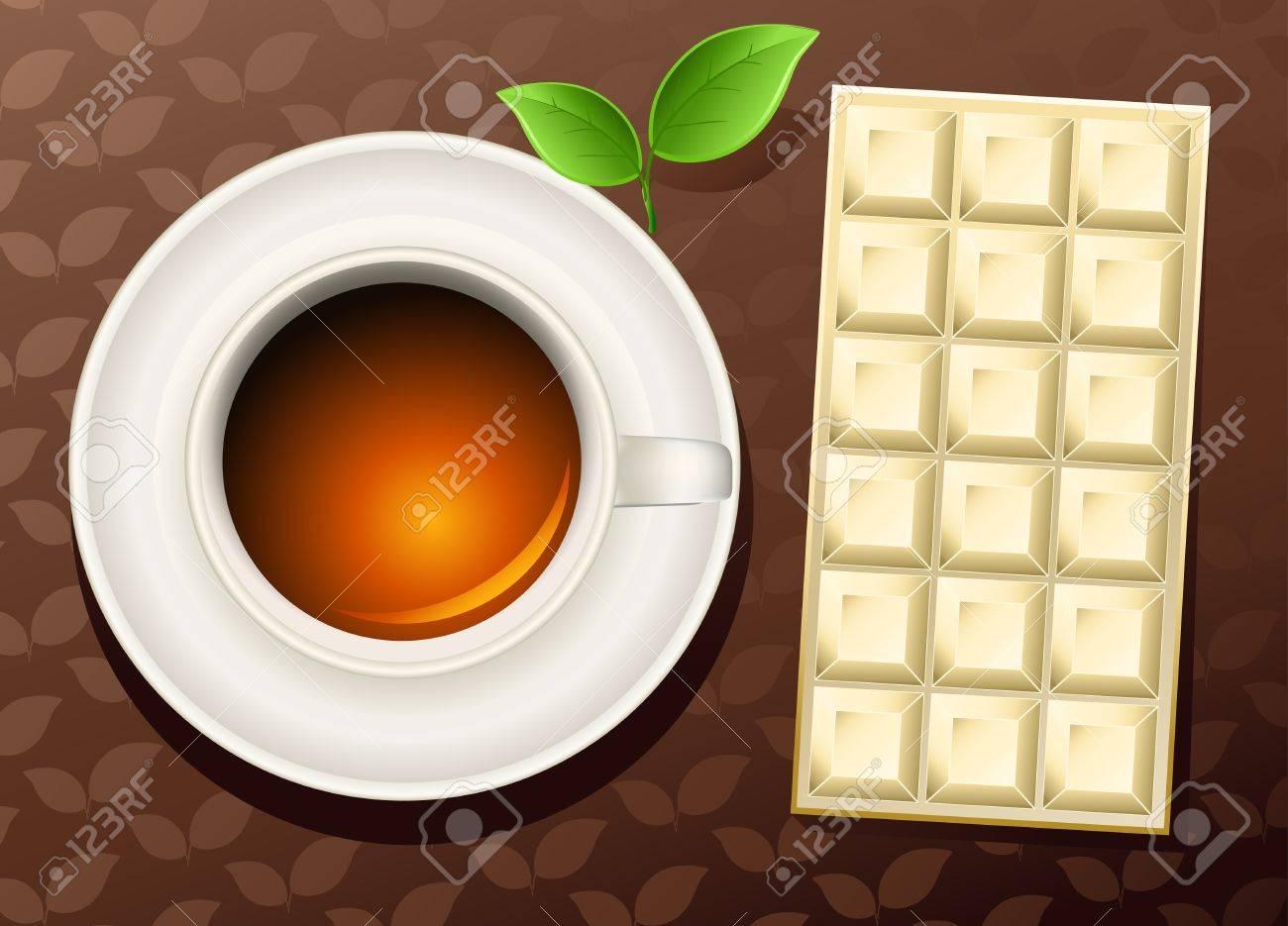 cup of tea an chocolate bar Stock Vector - 9998944