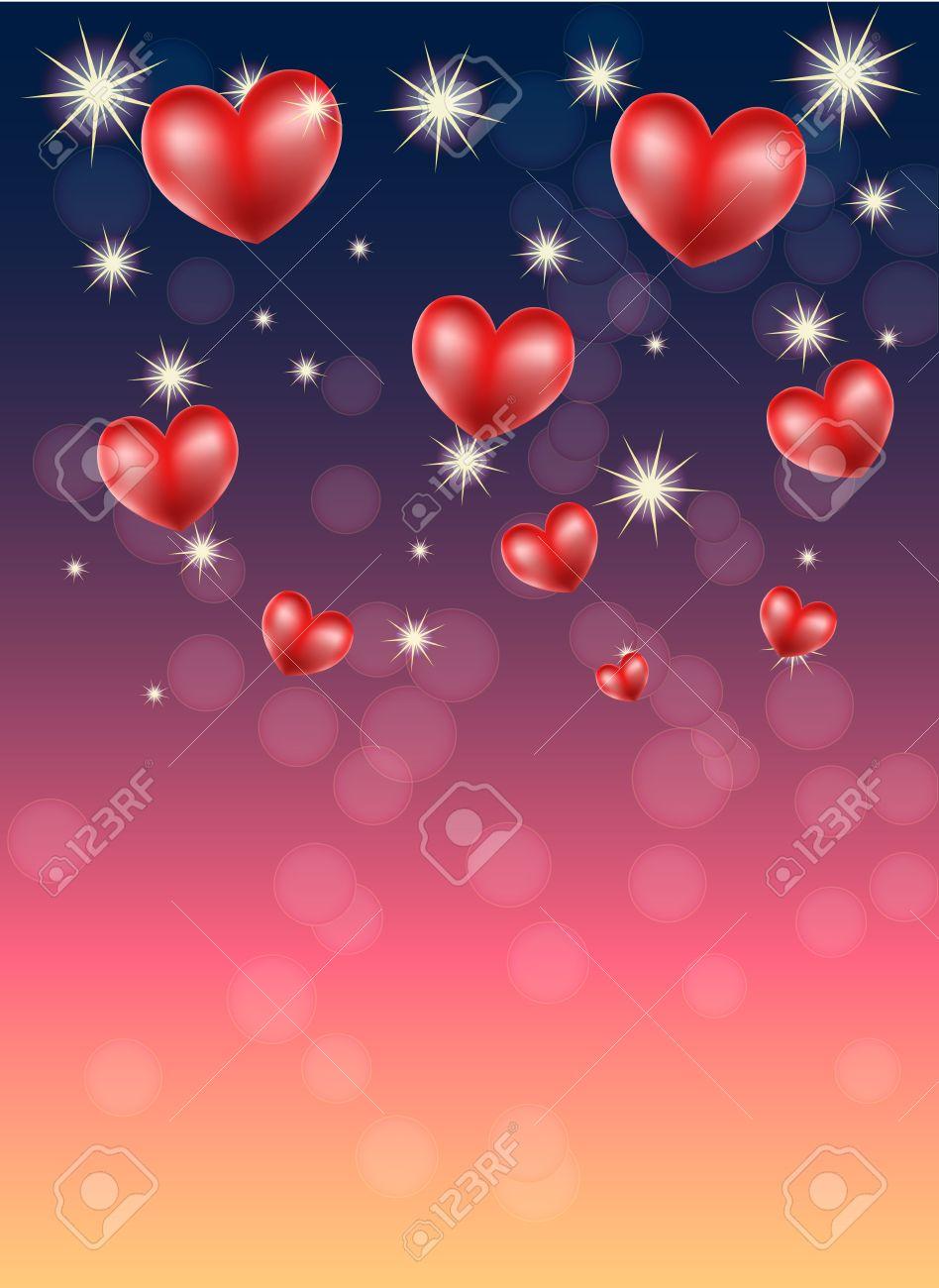De Fondo Romántico Con Corazones Y Estrellas Ilustraciones