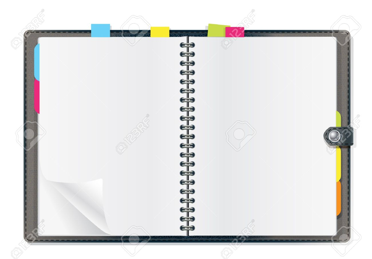 open diary on white background Stock Vector - 12448303