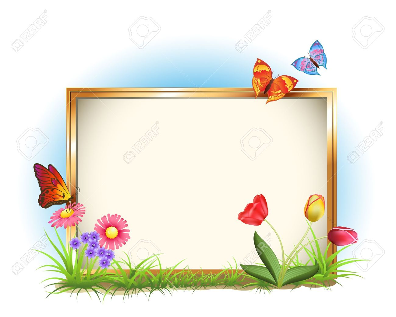 picture frame with spring flowers and butterflies royalty free