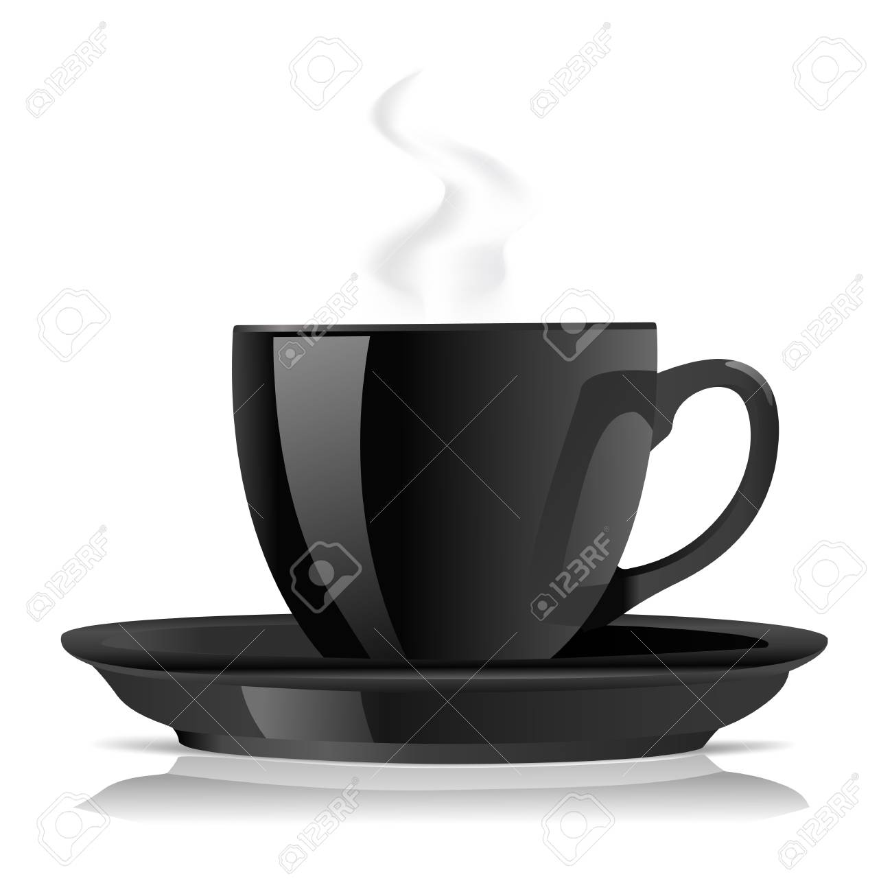 black coffee cup on white Stock Vector - 17452748
