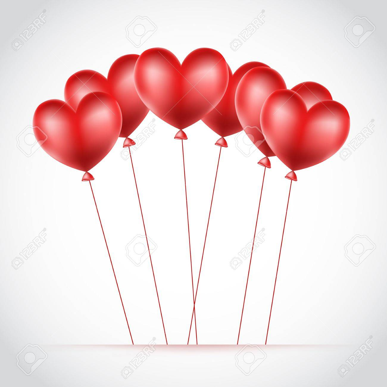 red balloons made of hearts background Stock Vector - 17452769
