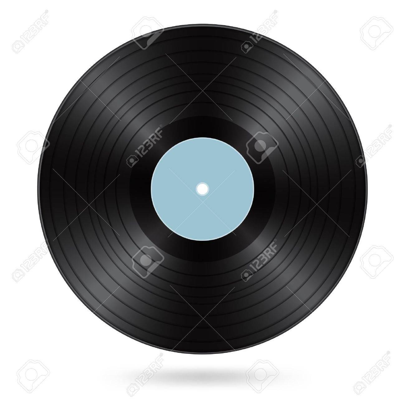 black vinyl disc with cyan blank label Stock Vector - 17452773