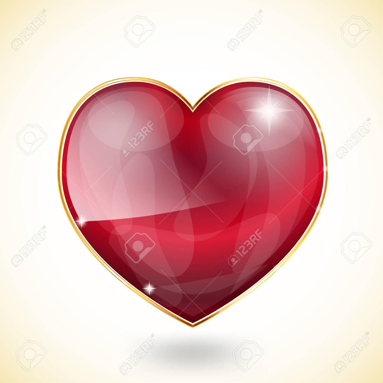 glossy heart in golden frame on light background Stock Vector - 17452797