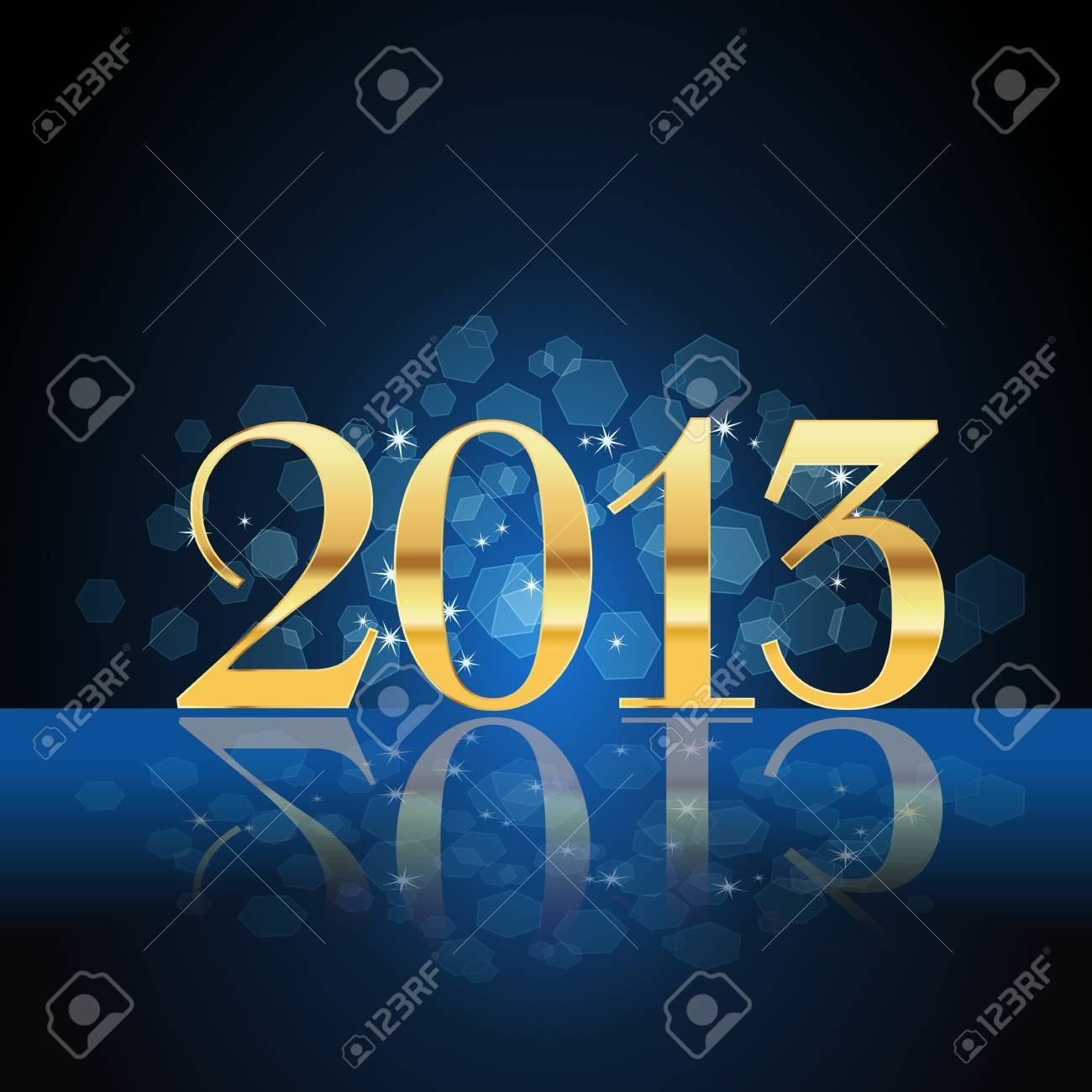 2013 year card gold on blue Stock Vector - 17690137