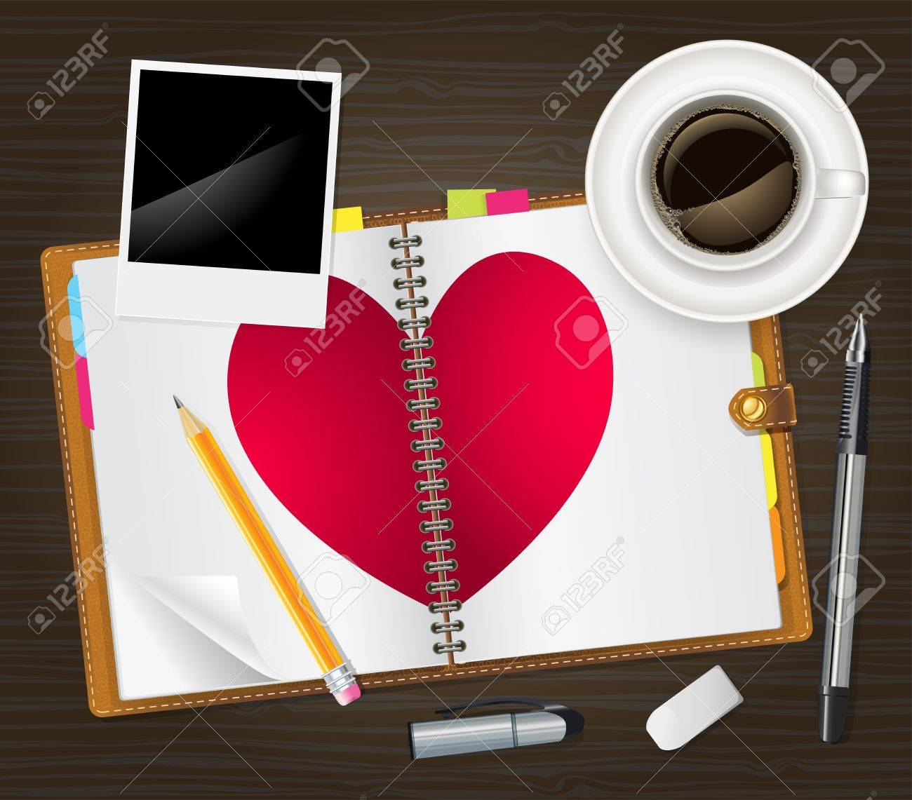 open diary with a heart Stock Vector - 17690244