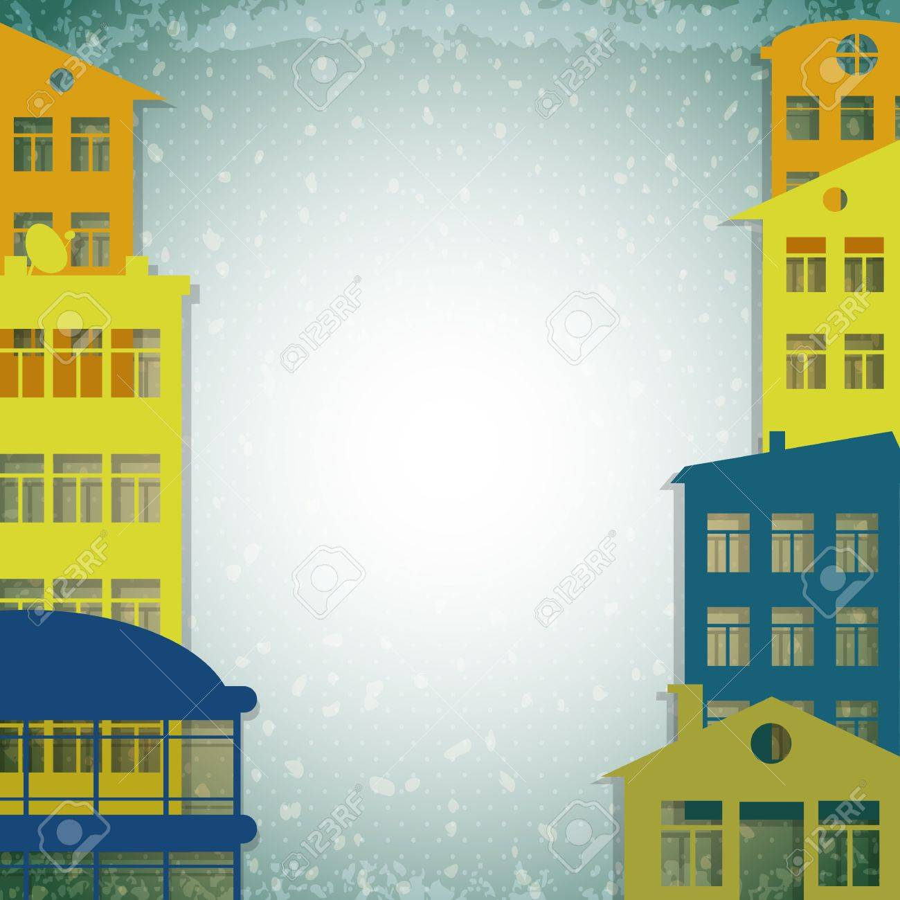 apartmert houses on vintage background Stock Vector - 17690193