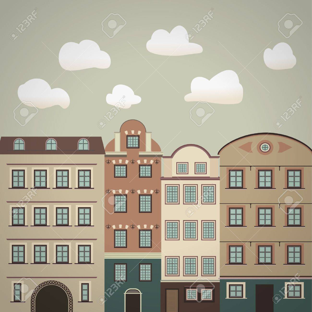 old town vintage illustration Stock Vector - 18165984