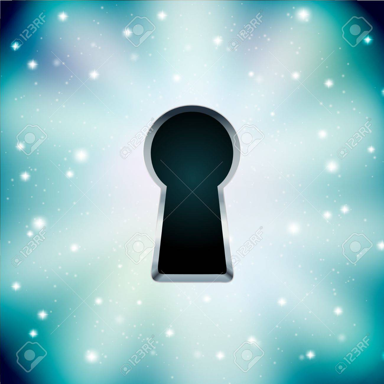 concept of key hole on starry background Stock Vector - 18246454