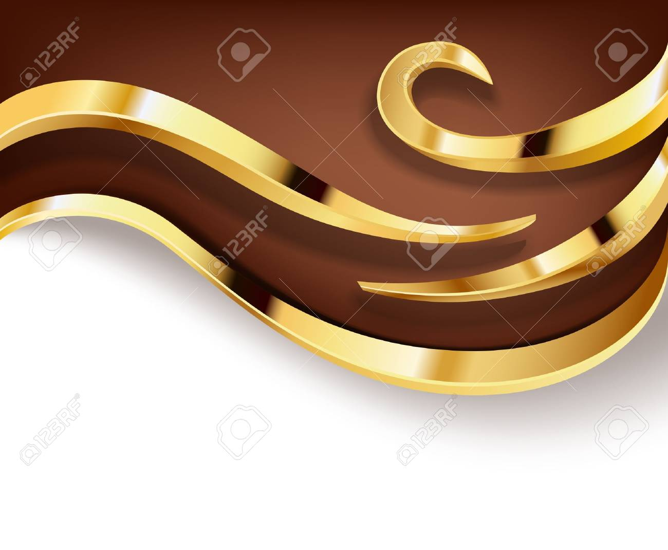 chocolate background with golden swirls Stock Vector - 18830779