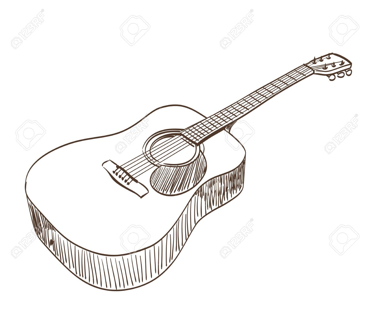 acoustic guitar in line art style Stock Vector - 21634346