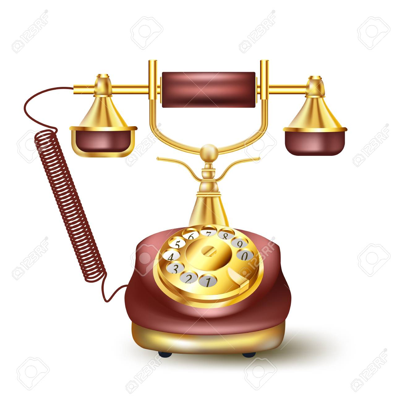 Vintage golden telephone on white Stock Vector - 21634423