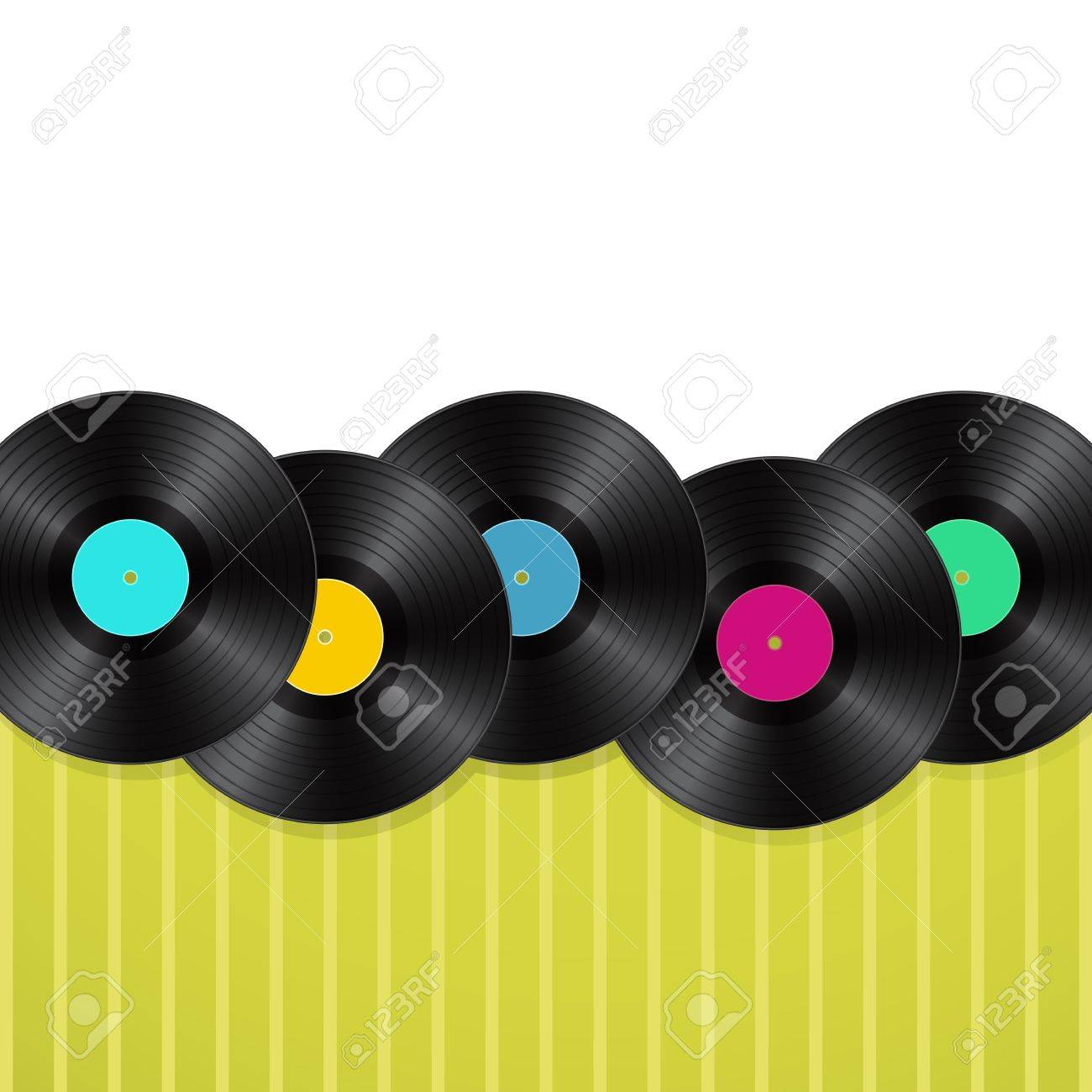 vinyls green background Stock Vector - 21634424
