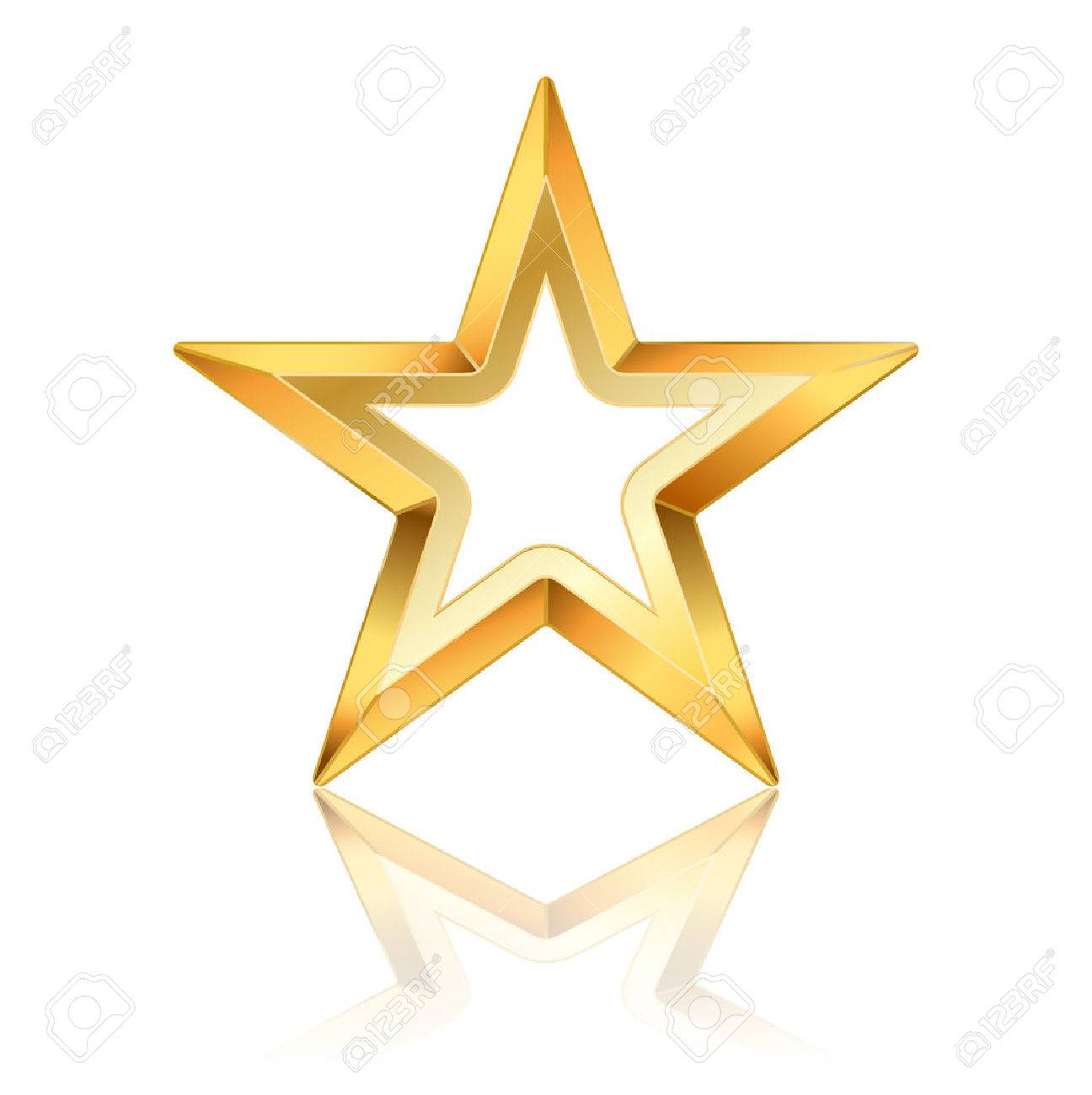 Vector Golden Star Frame On White Royalty Free Cliparts, Vectors ...