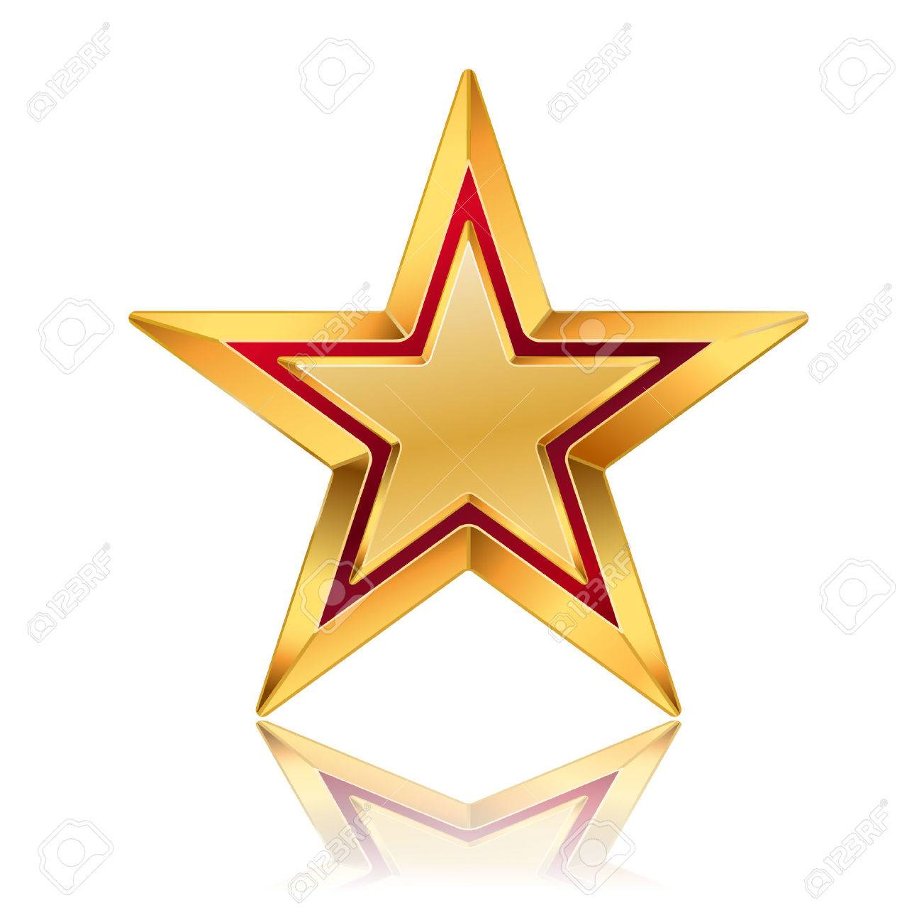 Vector Illustration Of Golden Star With Red Frame Royalty Free ...