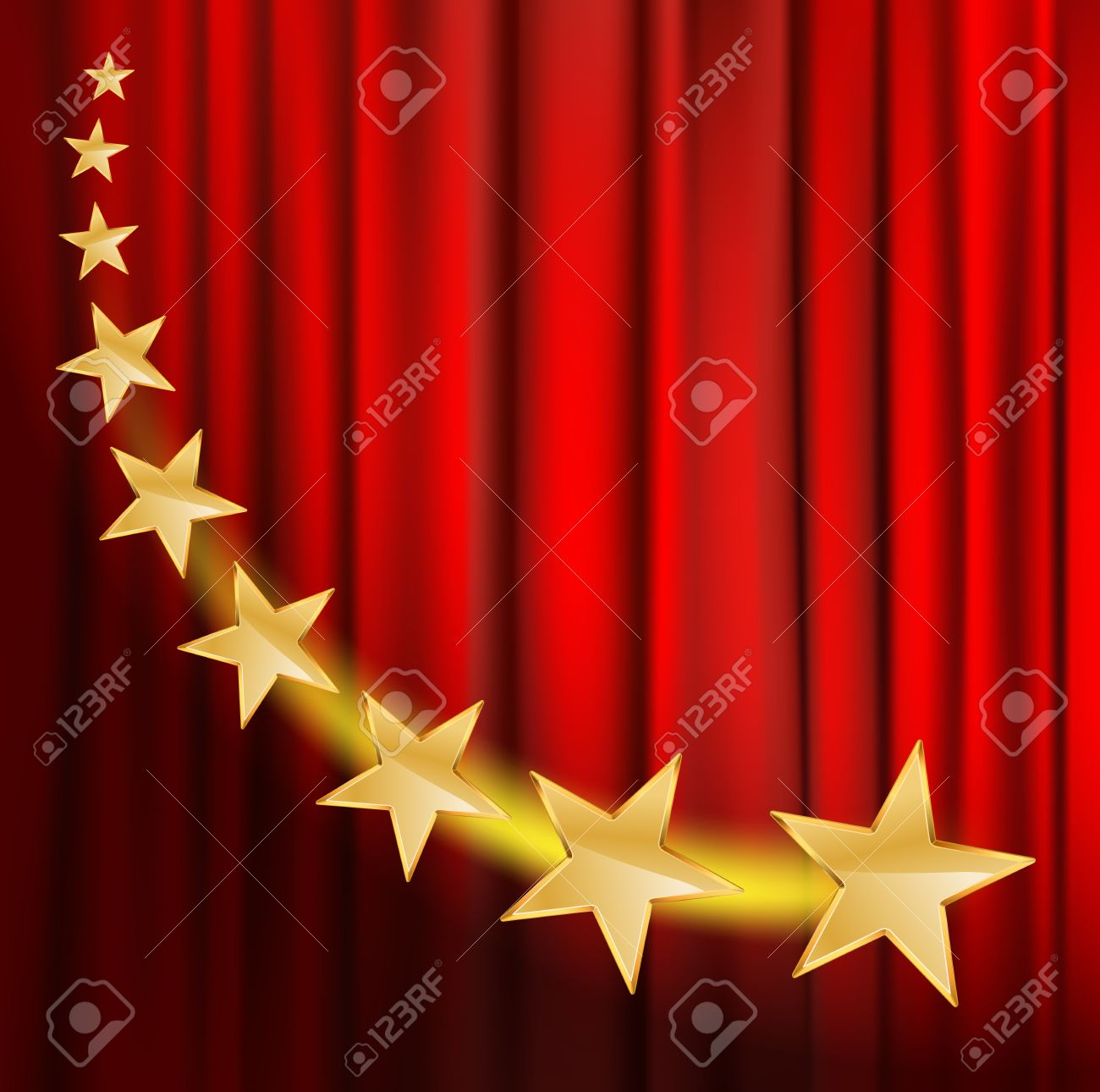 Red curtain spotlight - Vector Golden Stars Flying Over Red Curtain Background With Spotlight