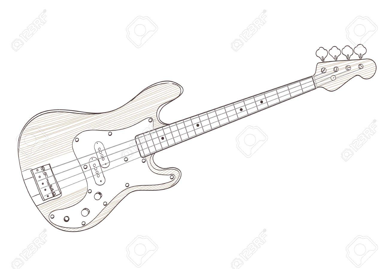 Bass-Gitarre Zeichnung Auf Weiß. Vektor Lizenzfrei Nutzbare ...