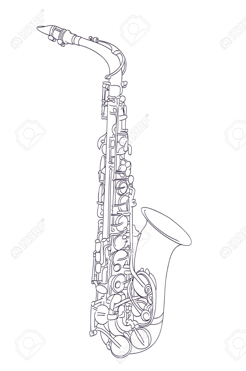 alto saxophone drawing on white vector stock vector 49542204