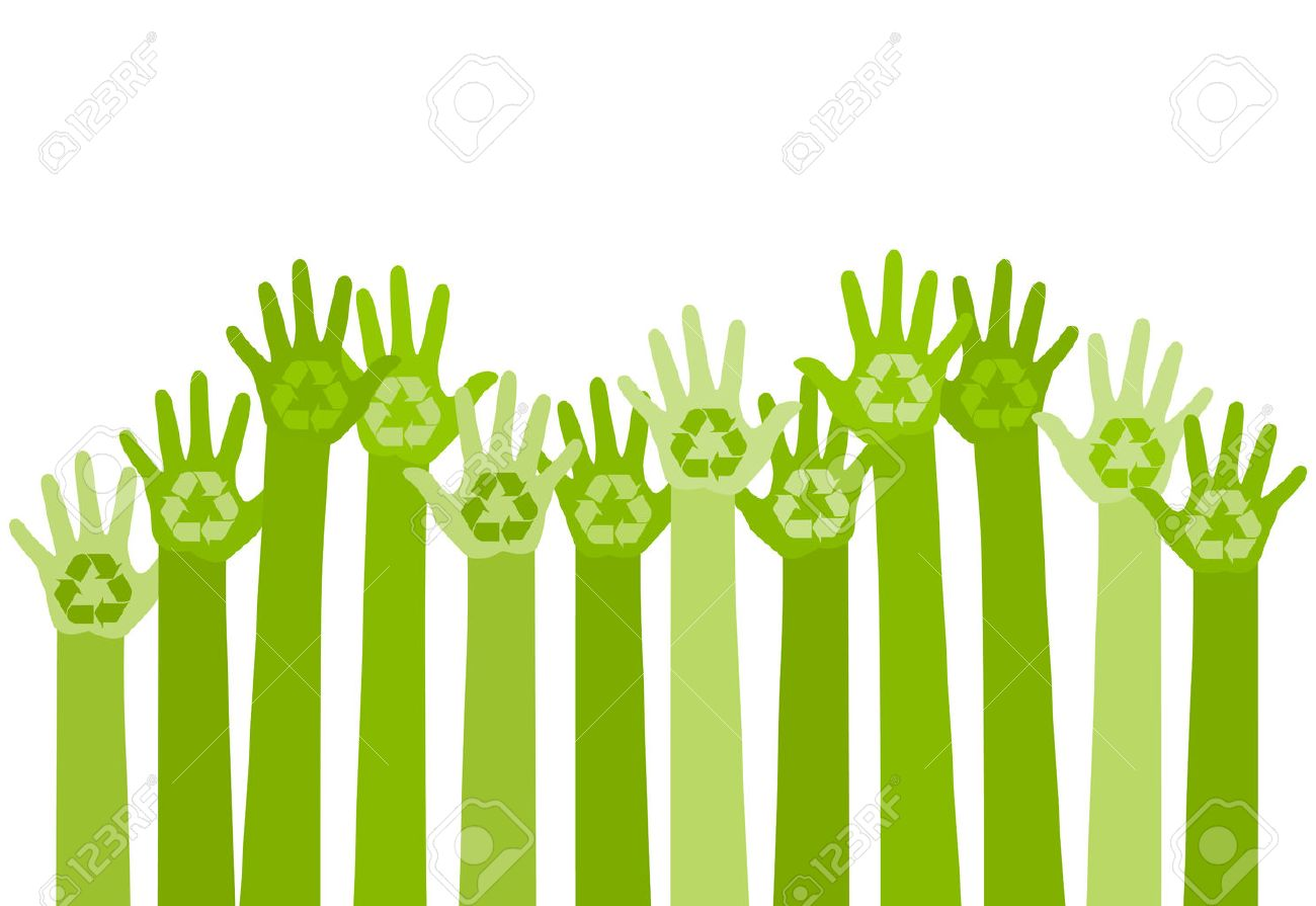 abstract illustration with raising hands with a recycle symbol