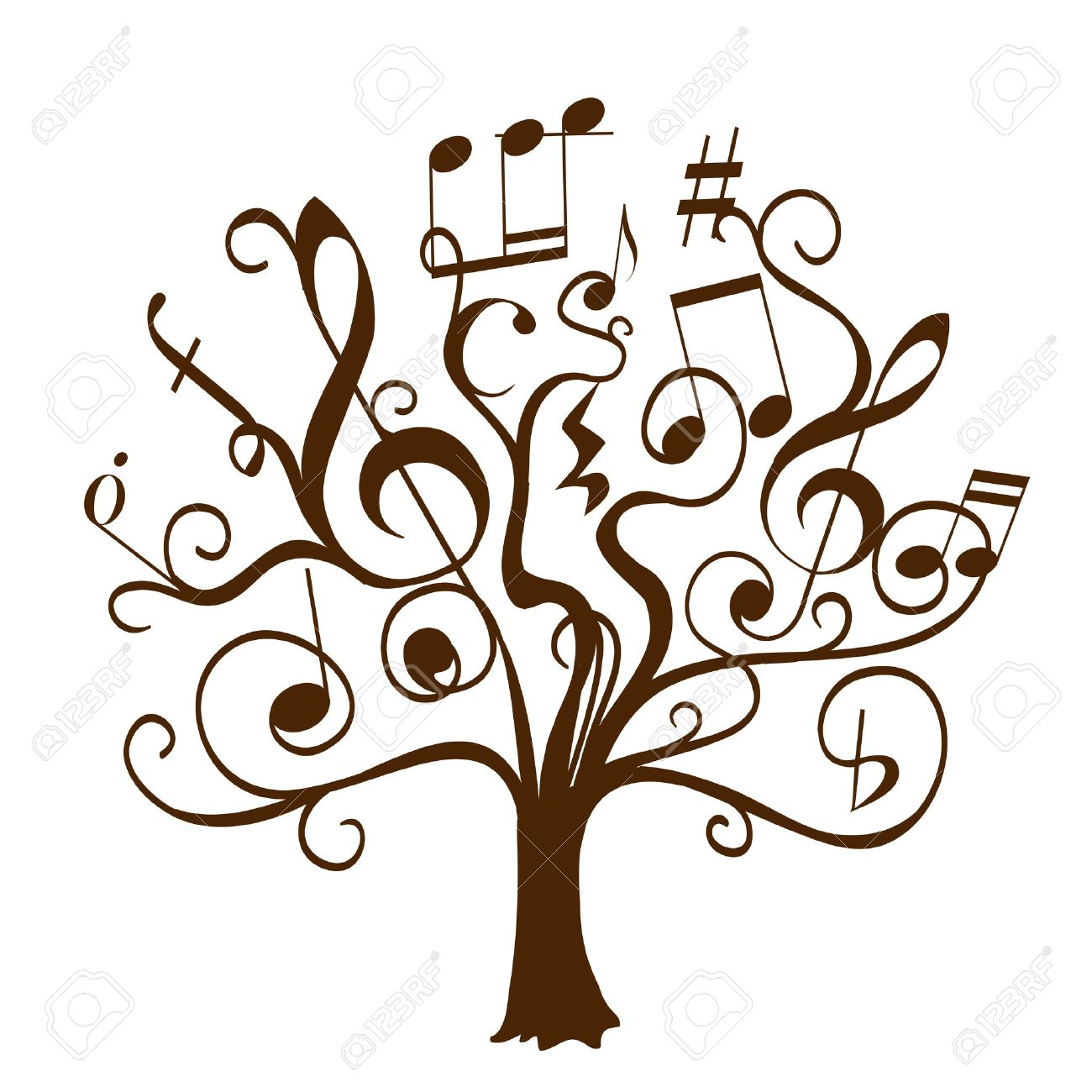hand drawn tree with curly twigs with musical notes and signs as leaves and flowers. abstract conceptual illustration on musical education theme. vector decorative tree of musical knowledge - 52215667