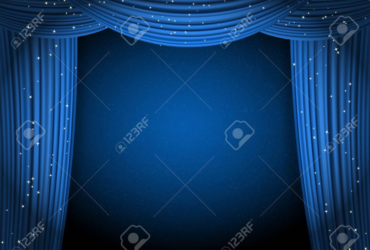 Blue Curtains On Blue Background With Glittering Stars. Open