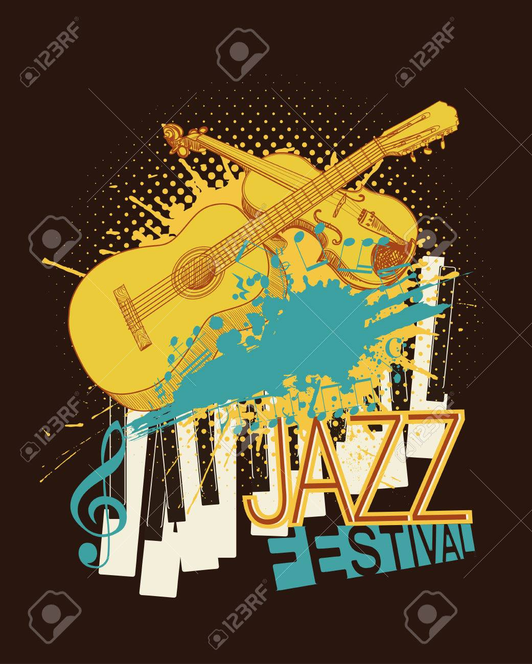 Jazz Music Festival Poster With Violin Piano Keys And Guitar
