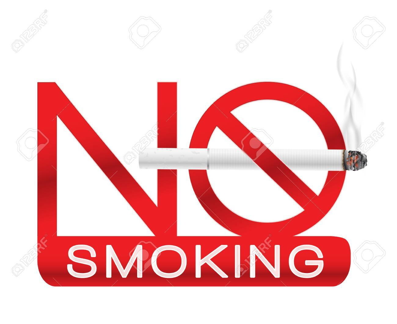 no smoking sign label with realistic white cigarette with smoke