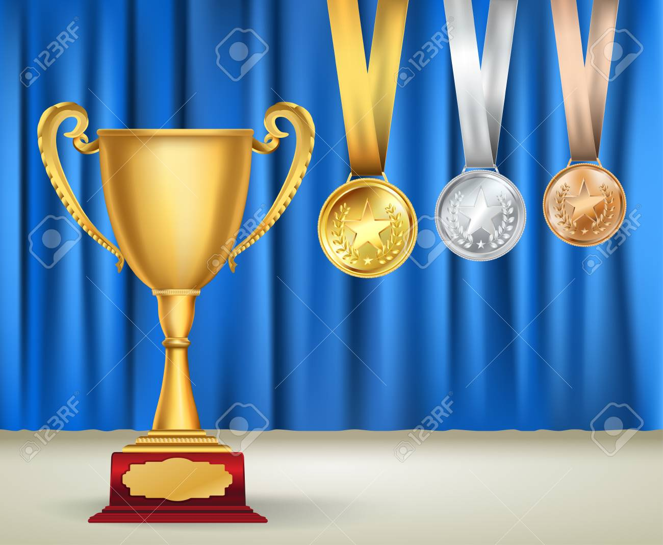 Golden Trophy Cup And Set Of Medals With Ribbons On Blue Curtain Background Sports Competition