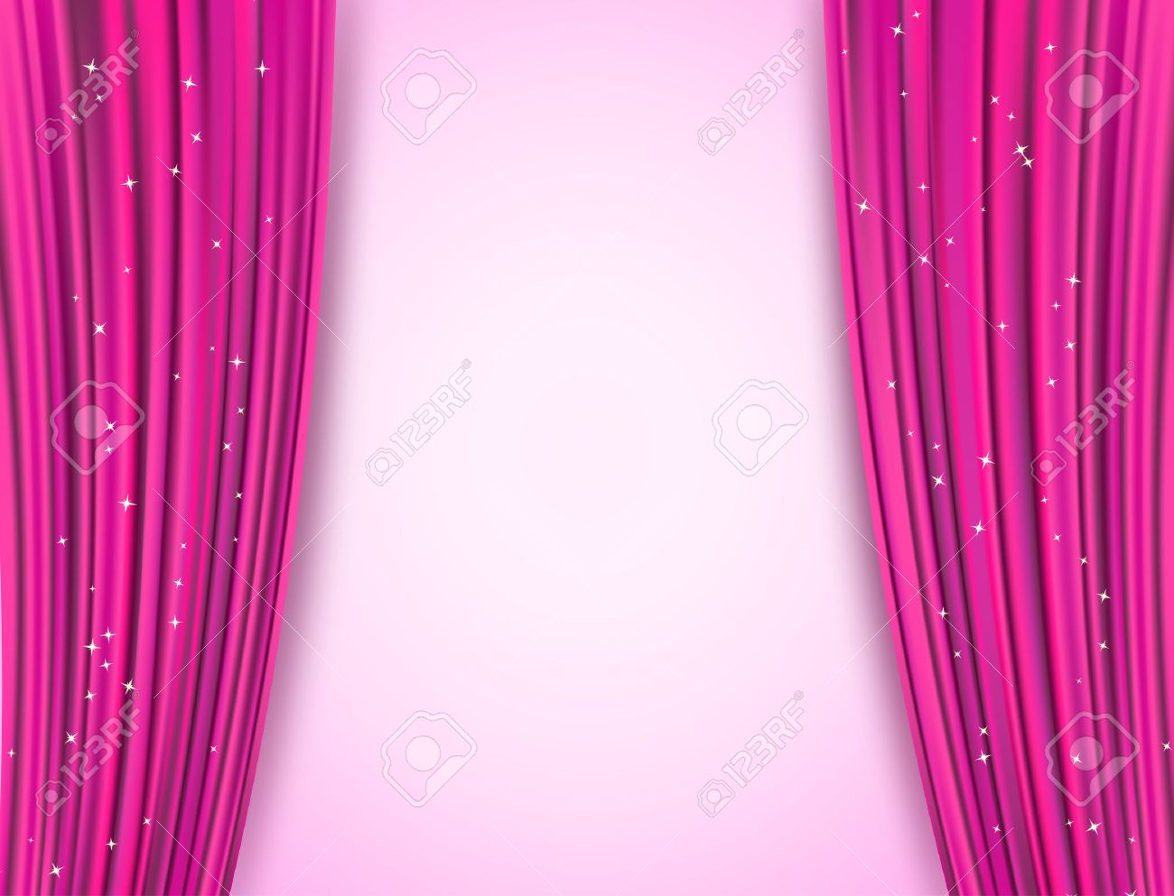 pink theater curtains with glitter. abstract background with opera pink drapes and glittering stars. raster - 55629725