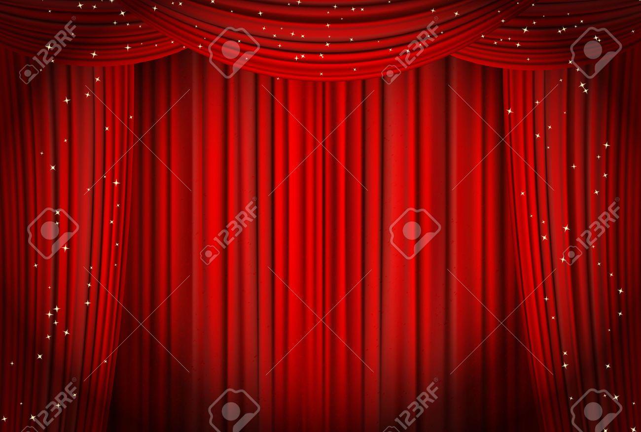 cortinas rojas abiertas con la pera brillo o el fondo del teatro vector foto de