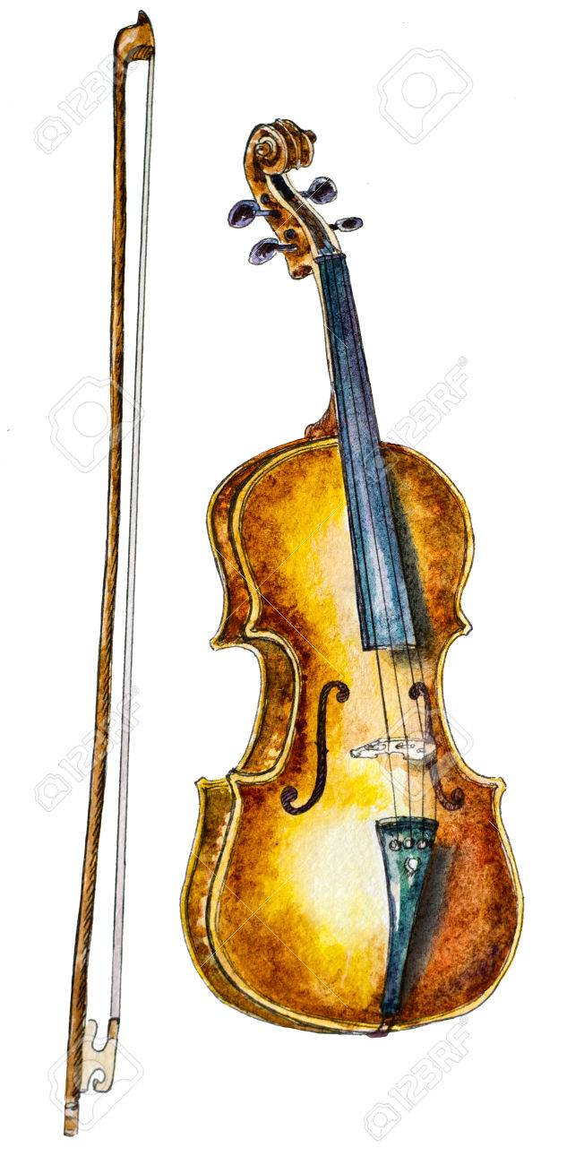 Watercolor Violin And A Bow On White Hand Painted Illustration