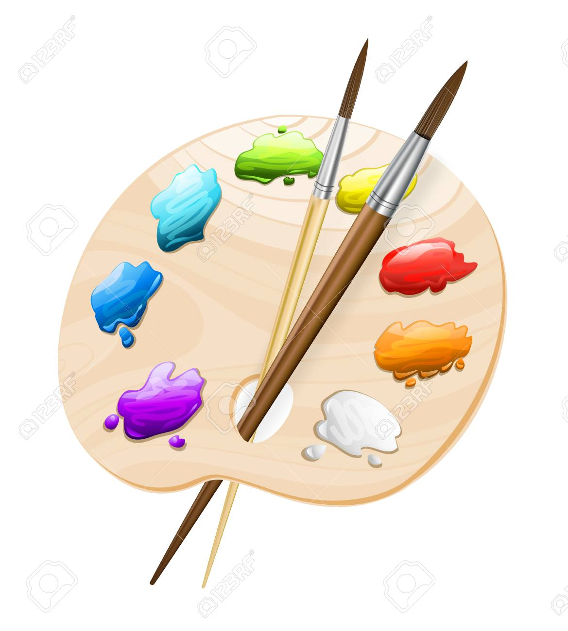 art palette with brushes on white. painting tools symbol. vector..