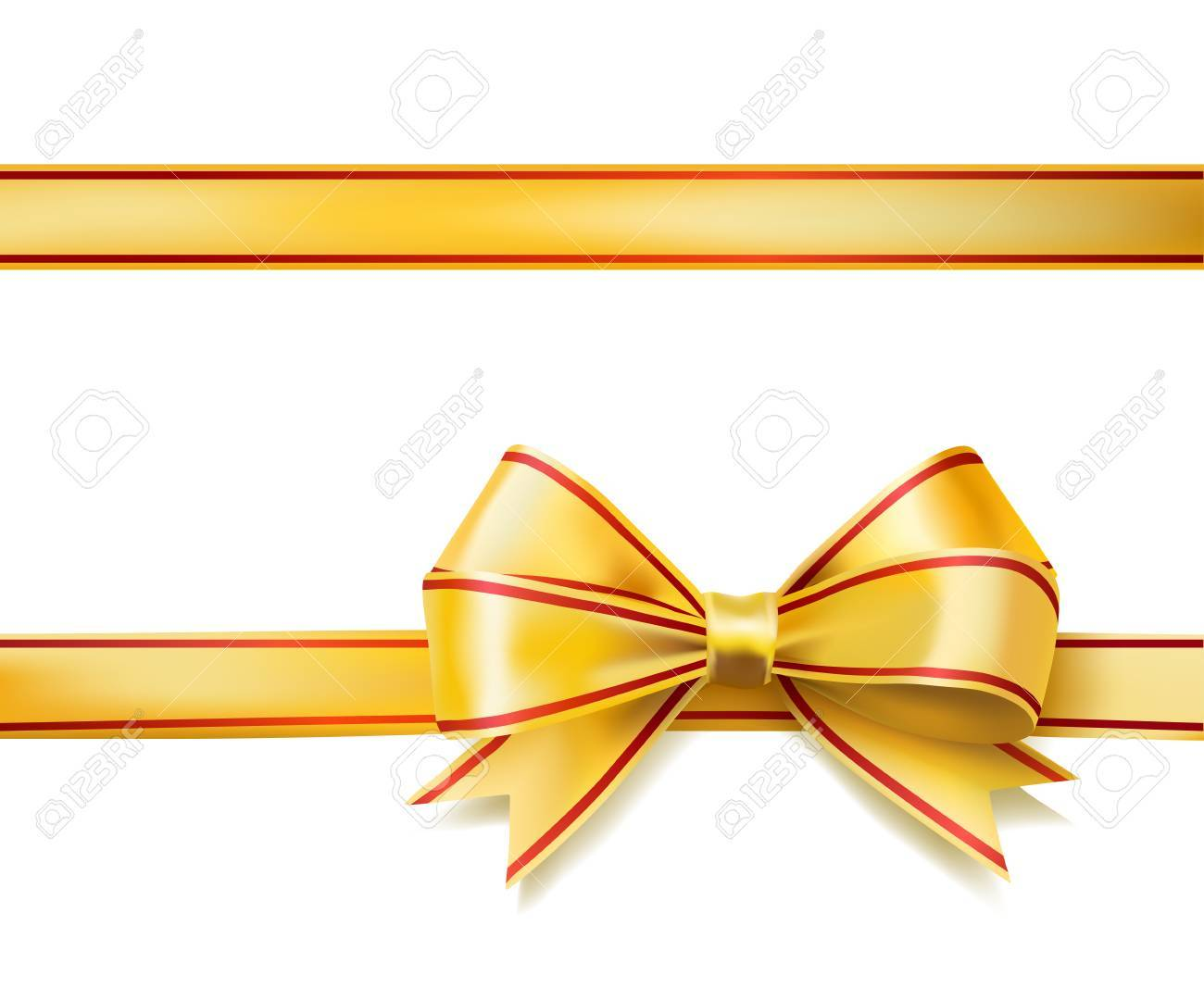 bright golden ribbon bow on white vector royalty free cliparts