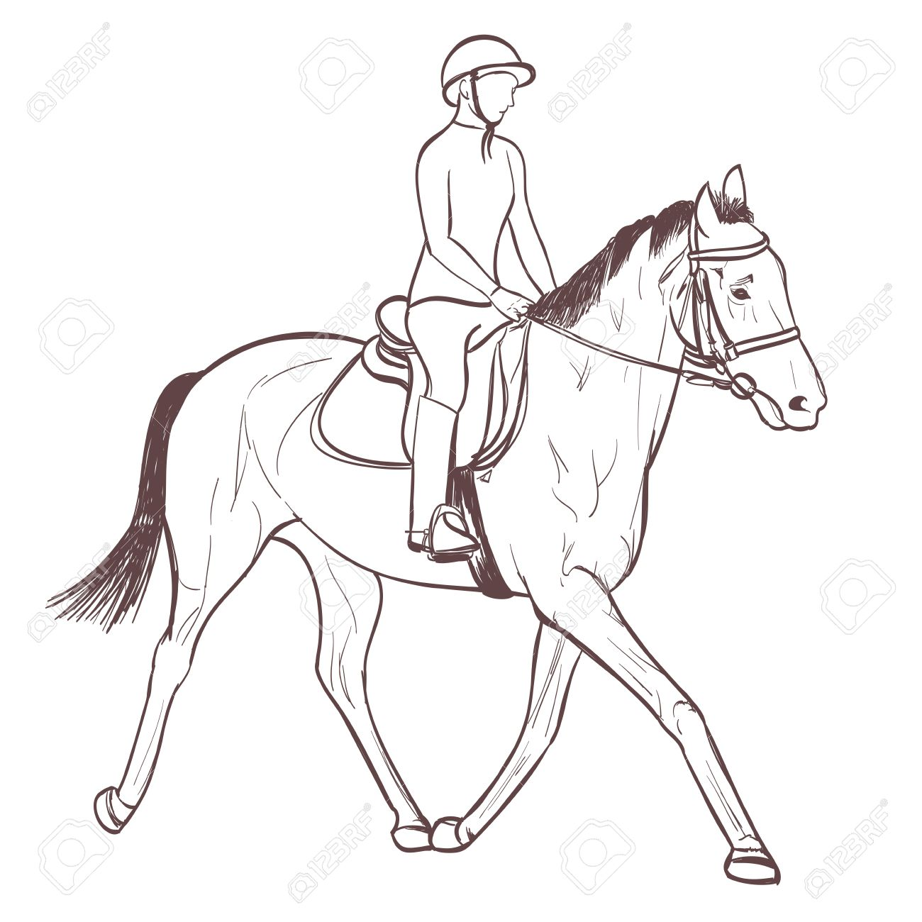 A Horse Rider Drawing Equestrian Sport Training Line Art Vector Royalty Free Cliparts Vectors And Stock Illustration Image 62142088