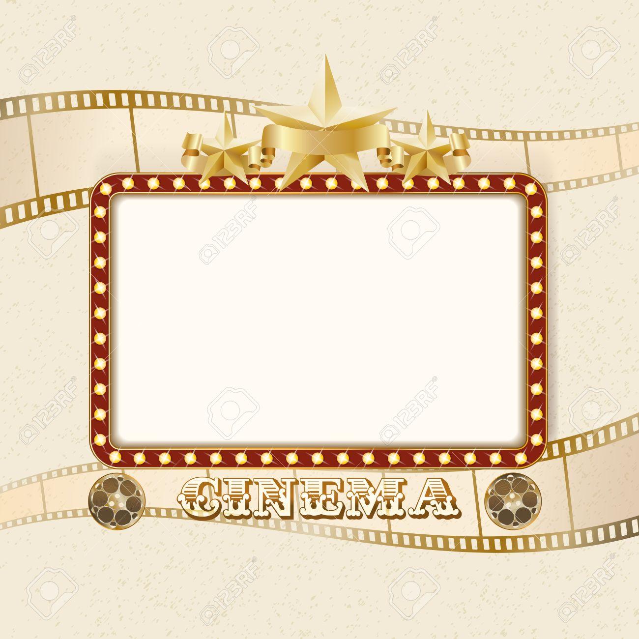Luminoso Bandera Cine Luz. Marco De Cine Retro Con Luces, Estrellas ...