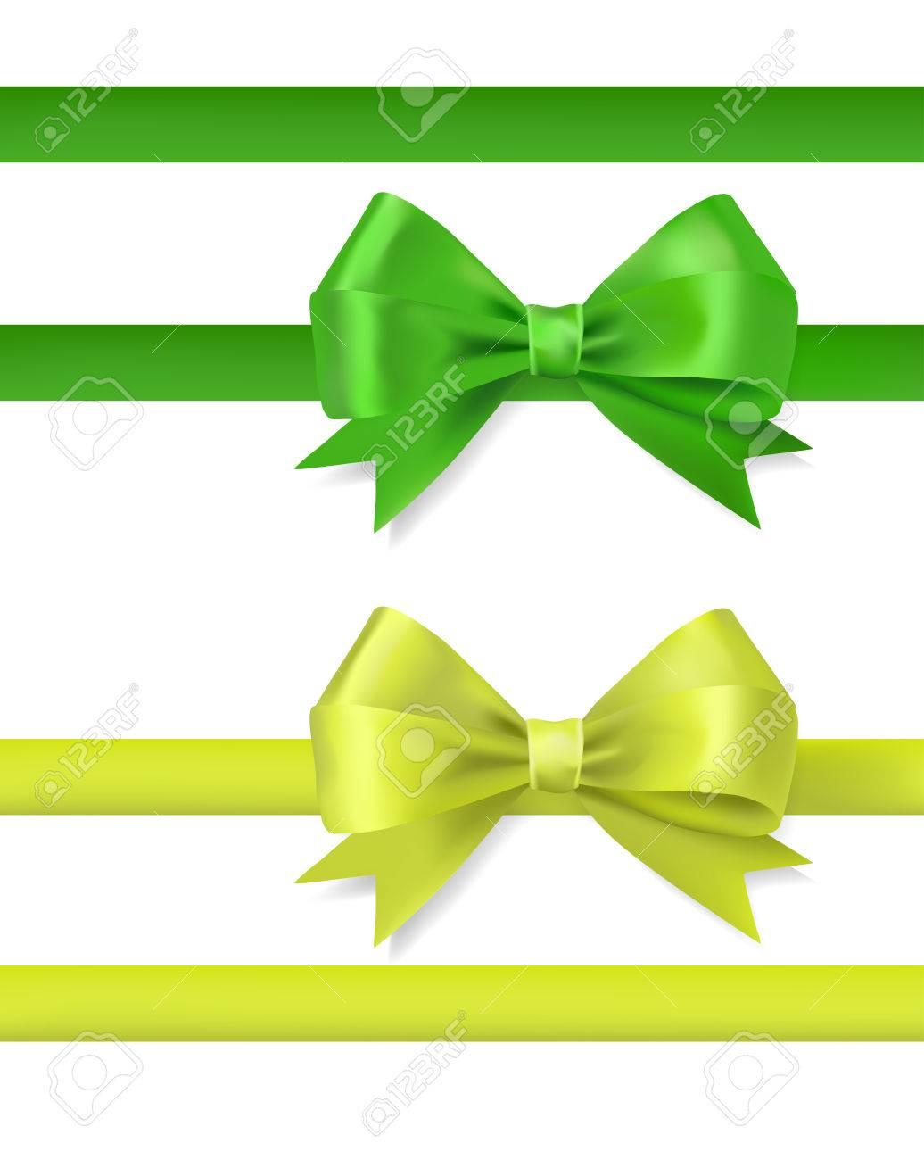 白にグリーン リボン弓ベクトル...