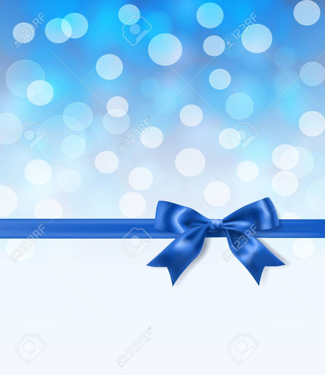 royal blue silky bow and ribbon border on light effects blurry background. vector illustration - 63080190