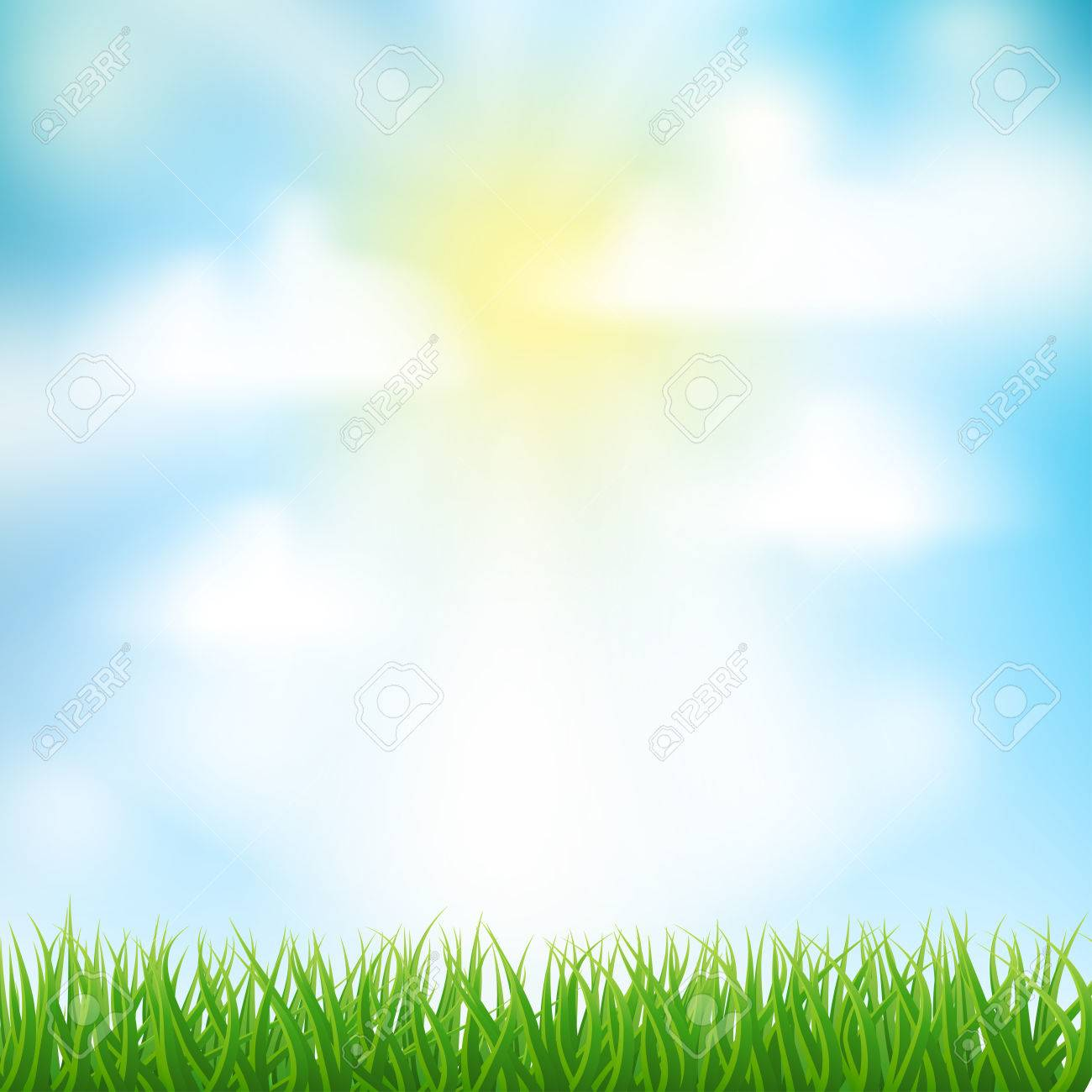 Spring Background With Grass Sky And Clouds Royalty Free Cliparts