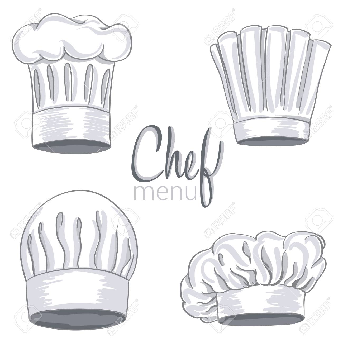 Set of hand drawn chef hat on white. Cooking caps drawings isolated on  white background fb226a9e42df