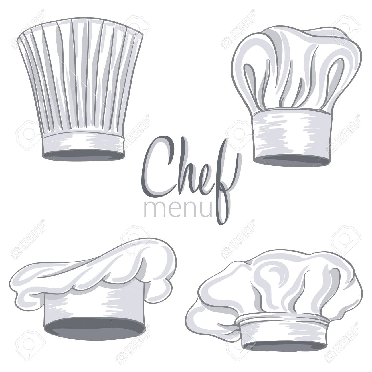 33f0aedb collection of hand drawn chef hat on white. vector illustration Stock  Vector - 72715681